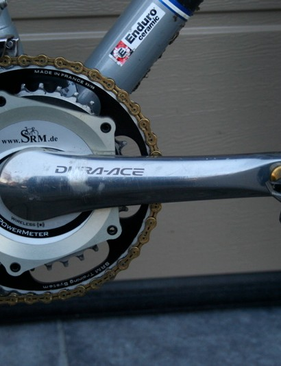 Compton records her race stats with an SRM power meter based on a 7800 Dura-Ace chainset