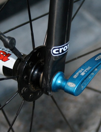 Compton's wheels are held on by a pair of Spin Stix from British company USE
