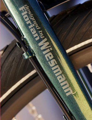 Unicrown chromoly fork proudly displays its designers name
