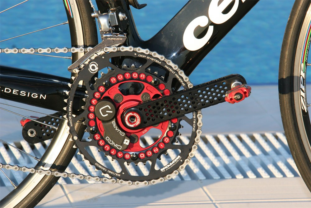 The elliptical Rotor Q-Rings that Sastre successfully used in last year's Tour de France are now attached to a prototype set of Rotor crankarms