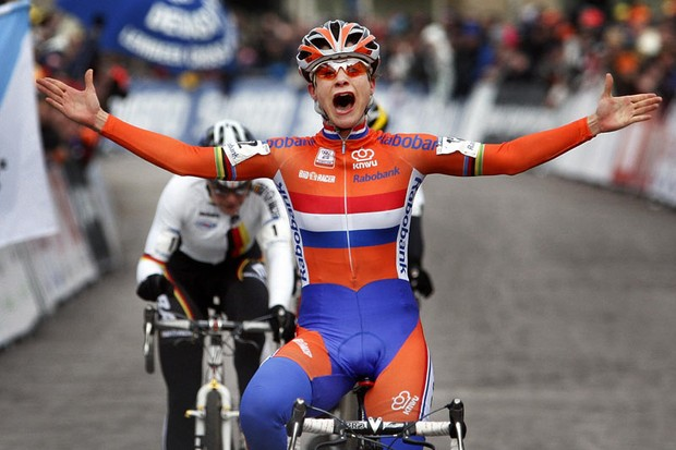 Dutch cyclist Marianne Vos celebrates after winning the Cyclo-cross World Championships in Hoogerheide