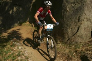Seamus McGrath of Canada competes in the Men's Individual Cross Country Mountain Biking Event at the State Mountain Bike Course in Lysterfield Park during day eight of the Melbourne Commonwealth Games March 23, 2006.