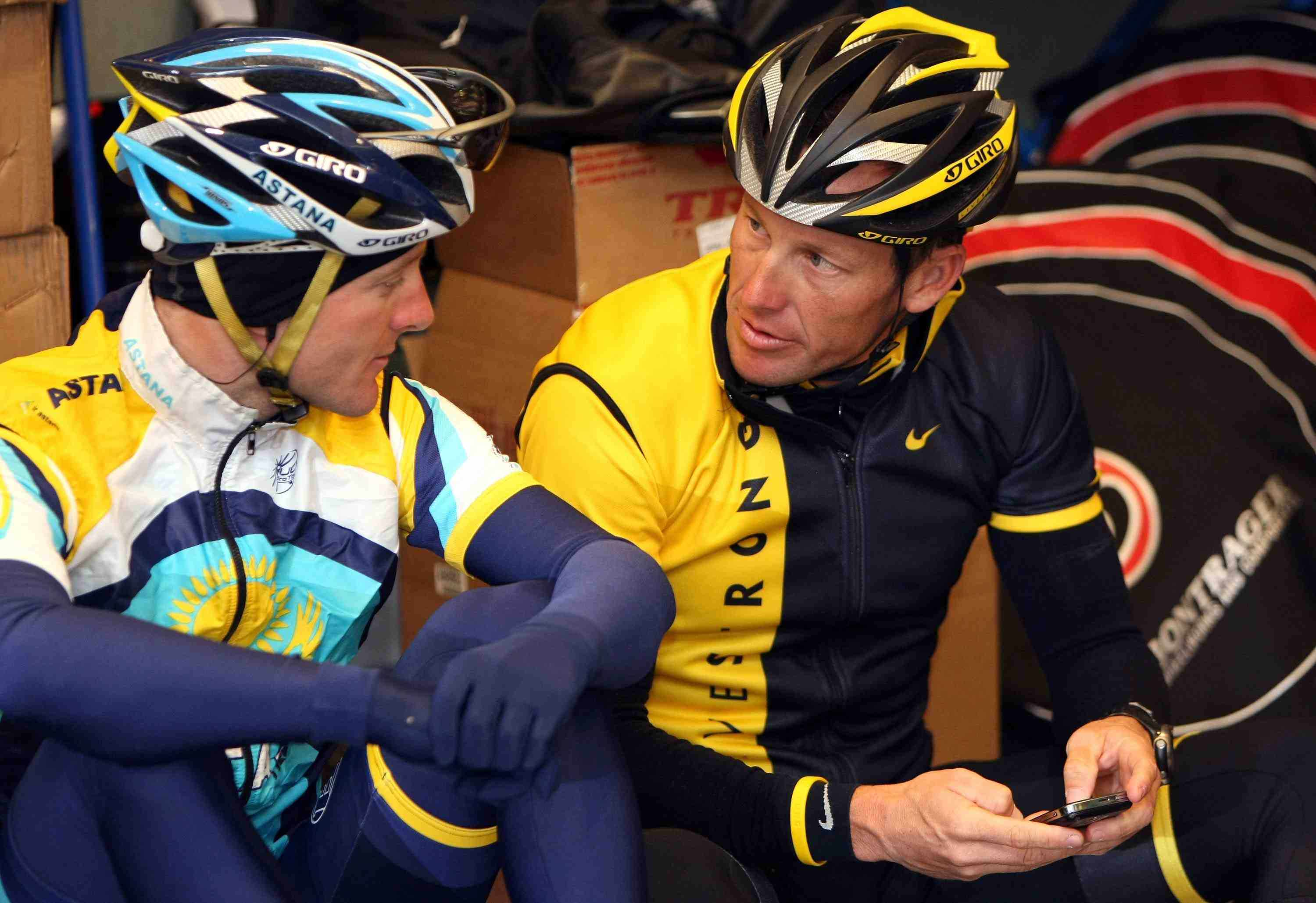 Astana teammates Levi Leipheimer and Lance Armstrong prepare for their training ride in Santa Rosa, CA February 4, 2009.