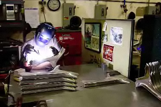 A welder at work at Intense Cycles