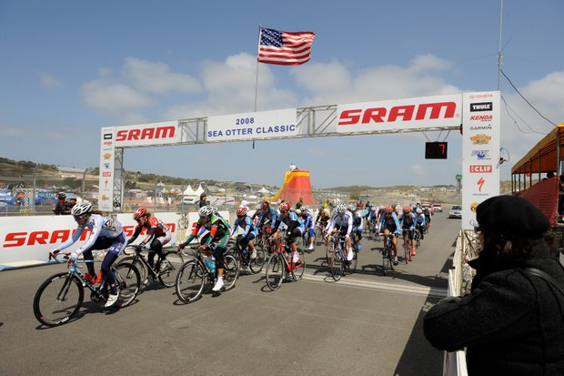 The women's professional field races on the Laguna Seca Raceway in 2008.