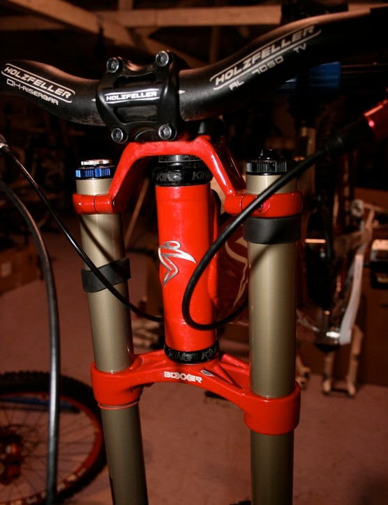The RockShox Boxxer World Cup fork does the job up front.