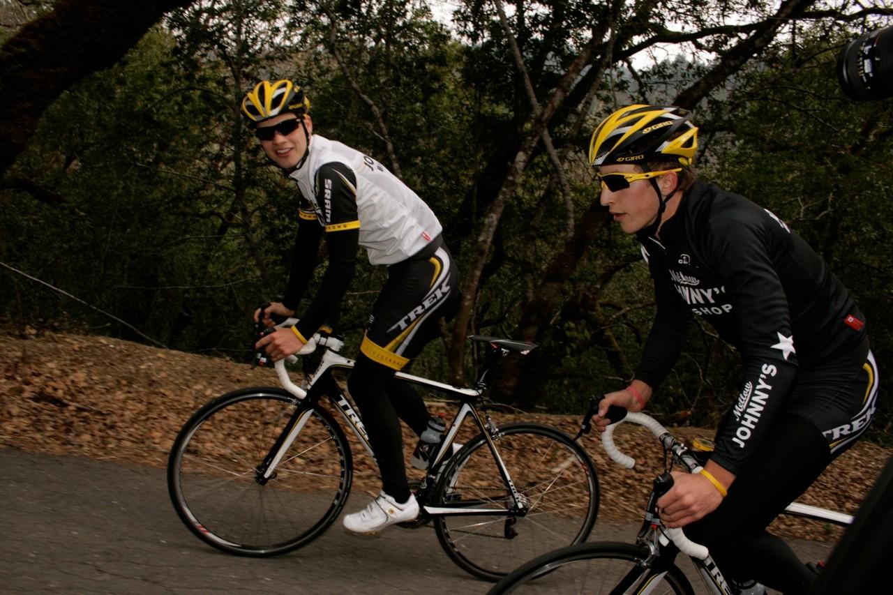 Bjorn Selander and Taylor climb King's Ridge in Sonoma County, California.