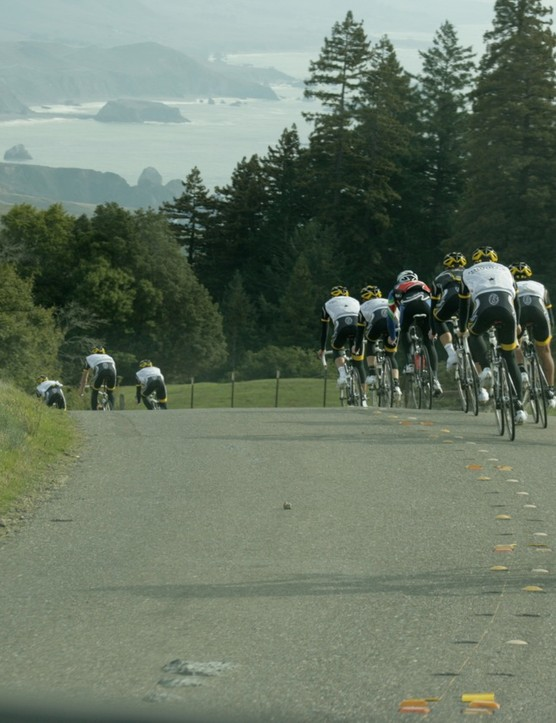The Pacific Coast along California State Highway 1 beckons on the horizon; first, the team must descend an 18-percent grade.