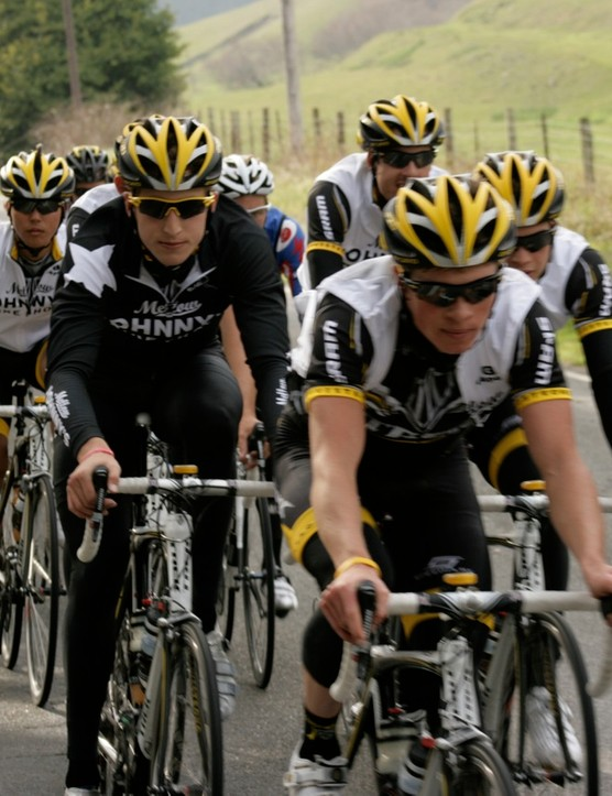 The Trek-Livestrong U23 team rolls on Highway 116 in Sonoma County, California February 4, 2009.
