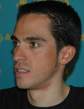 Multiple Grand Tour winner Alberto Contador meets the press in Santa Rosa February 4, 2009.
