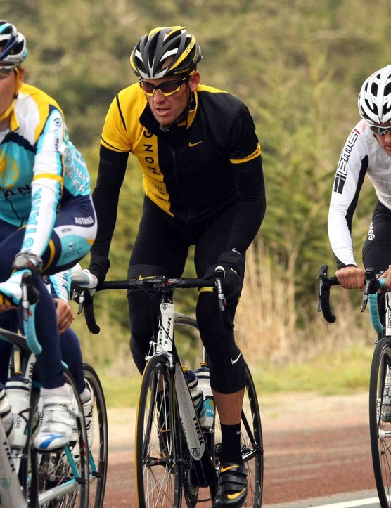 Lance Armstrong rides with his Astan teammates in Jenner, California as the team wraps up final preparations for the upcoming Tour of California.