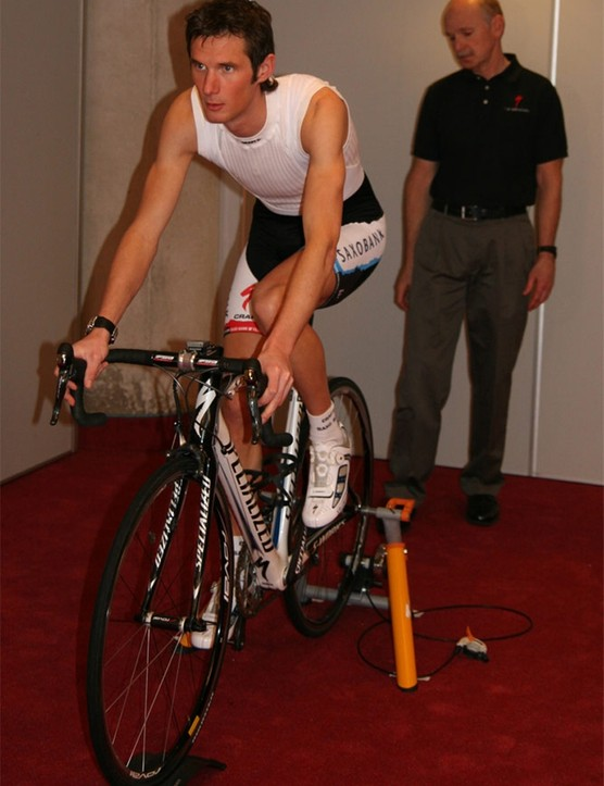 Frank Schleck, being assessed by Pruitt