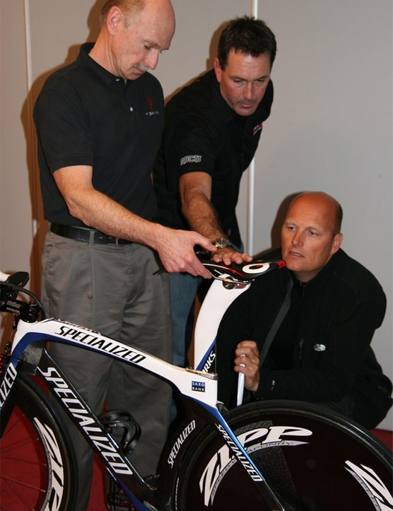 The bike belonging to Frank's brother Andy Schleck undergoes some adjustments