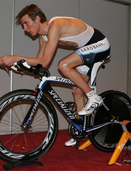 Although Schleck has limited flexibility, he is able to get fairly aero on the bike