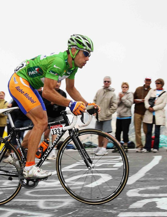 Colnago-sponsored racer and three-time UCI Road World Champion Oscar Freire of Spain and Rabobank climbs the Col du Tourmalet during Stage 10 of the 2008 Tour de France from Pau to Hautacam on July 14, 2008.