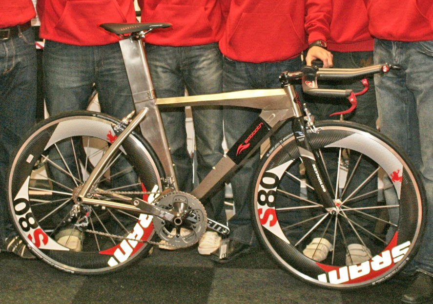 A close-up of the new time trial bike