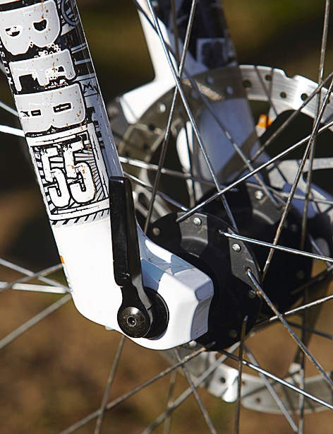 The through-axle on the fork equates to a big boost to wheel tracking
