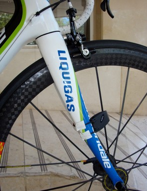 Cannondale looks to have retained the current SuperSix's tapered fork steerer. A Suunto Bike Pod keeps track of speed.