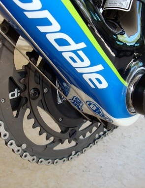 Basso's power transfers from the Cannondale Hollowgram cranks through the oversized BB30 bottom bracket.