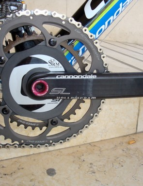 Even with the extra power measuring hardware the SRM/Cannondale Hollowgram crankset is still claimed to weigh just 721g.