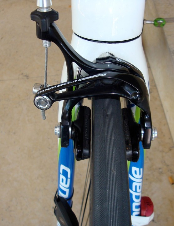 Campagnolo continues to use different brakes front and rear, saying the dual-pivot front provides stopping power where it's needed…