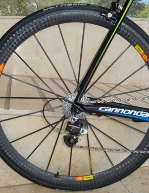 The same rim profile is used out back and the combination is both lightweight and reasonably aerodynamic.