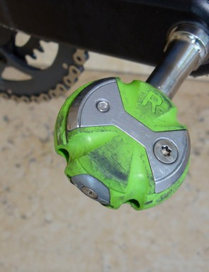 Speedplay Zero Titanium pedals are finished in Liquigas' cool shade of green.