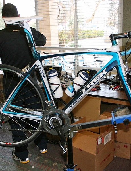 Chris Horner's Team Astana Trek Madone 6.9 Pro, shod with SRAM Red, Bontrager bits and an SRM power meter, moments after receiving some TLC from the Astana mechanics.