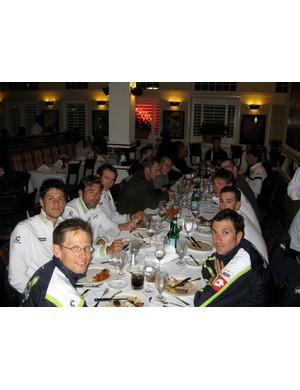 Team Liquigas enjoys a quiet Italian dinner with BikeRadar's Gary Boulanger and James Huang.