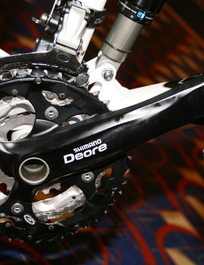 The Deore chainset is available in silver or black
