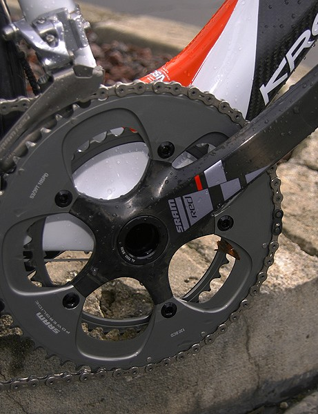 Fitted to the bottom bracket shell is the BB30 version	of SRAM's Red crankset.