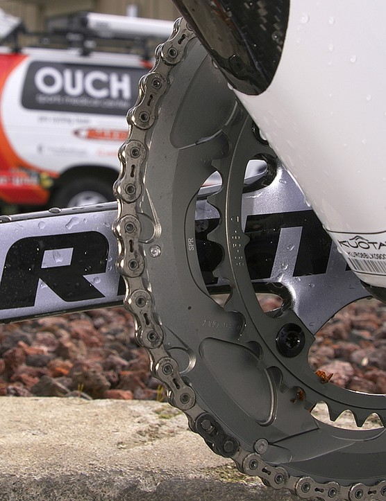 Landis is running the extra-stiff 'SPR' version	of the SRAM Red outer ring.