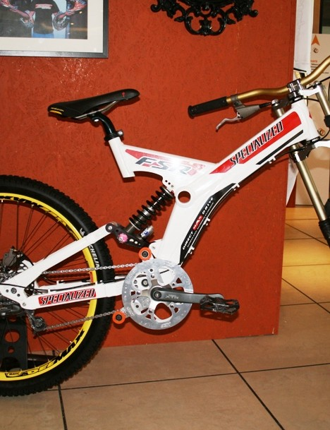 This replica of Shaun Palmer's 1998 Specialized FSR DH Team was on display at the TLD stand