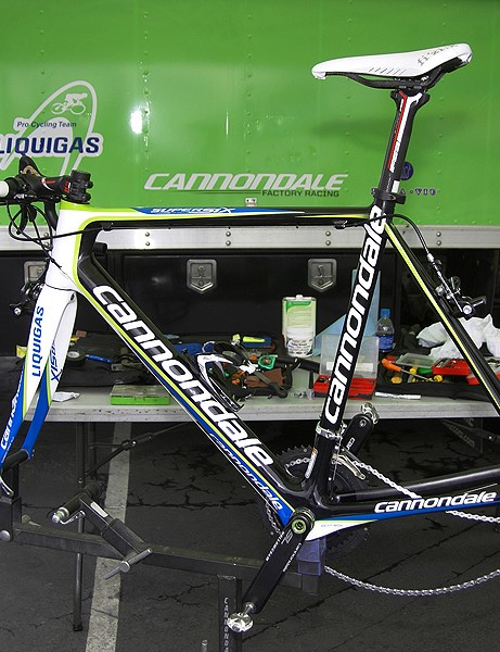 Liquigas mechanics were seen setting up one of Ivan Basso's road frames with his time trial position.  According to team liaison Rory Mason, this was strictly for wind tunnel testing slated for after the race.