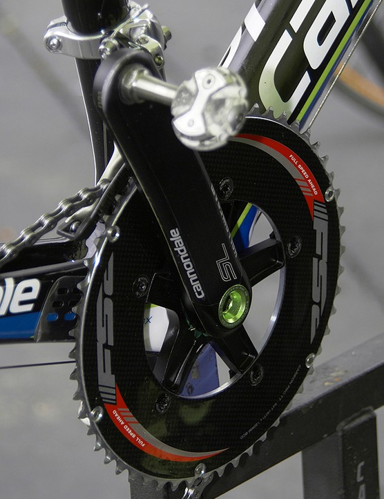 In spite of Mason's plausible explanation about Basso's setup, we still can't help but wonder: if this bike was being built up purely for refining Basso's position, why go through the trouble of installing an aero outer chainring?