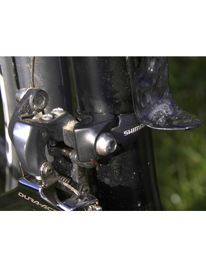 Dura-Ace 7900 adopters might be pleased to seethat Shimano has made a front derailleur clamp adapter with a matched finish.