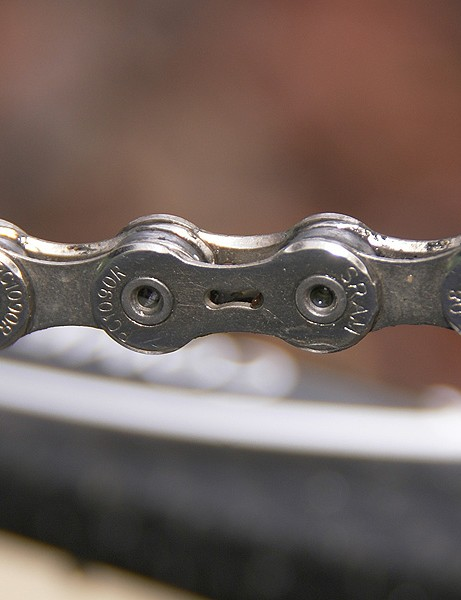 The new SRAM PC-1090R chains are said to have stronger pinsand more grease for increased strength and quieter running.