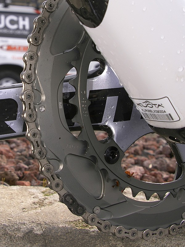 SRAM-sponsored teams and riders are now on complete drivetrainsas far as we could tell thanks in part to revised chains and optional stiffer outer chainrings.