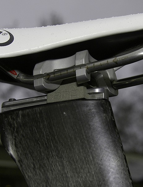 The seatpost head is secured on a long rail to allow for plenty of fore-aft adjustment.