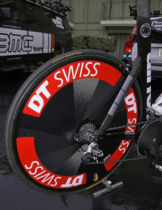 …but the surface dimples and molded-in logo give away their true identity.  DT Swiss doesn't currently offer a deep-section wheel or a full disc though so it's really no big deal.