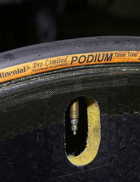 Relatively narrow Continental Podium tires offer a fast roll but don't give up too much grip relative to standard road tires.