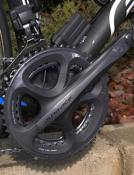 The new Dura-Ace 7900 crankset is one of the stars of the new group with its hollow outer chainring.