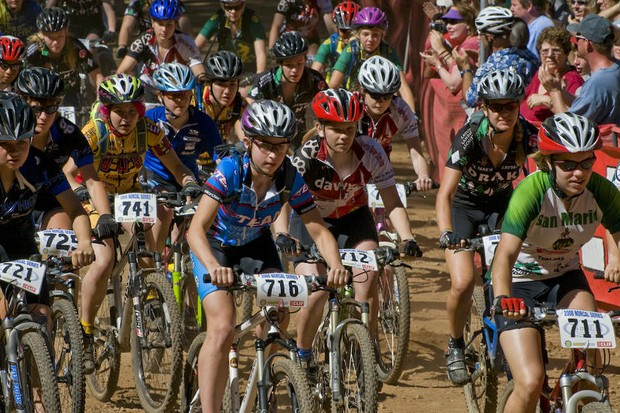 Freshman and sophomore girls kick up the dust at the beginning of the 2008 California State Championships.