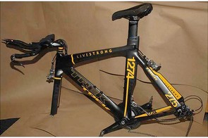 The much ballyhooed Trek Livestrong time trial bike has been found, sans wheels.
