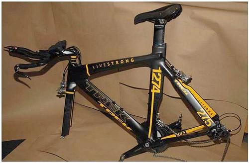 The much ballyhooed Trek Livestrong time trial bike has been found, sans wheels.