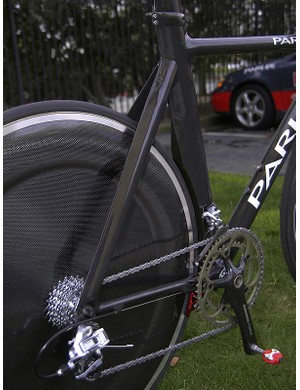 The seat stays are aero as well and the trailing edges are notably sharp for a carbon frame.
