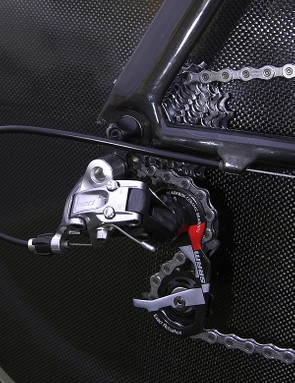 SRAM's top-end Red components are used for the rear and front derailleurs.