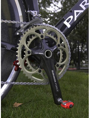 Second-tier Force cranks are used exclusively on the TT bike.