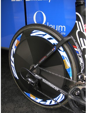 The aero-shaped seat stays surround a Zipp 900 tubular disc wheel.