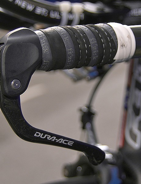 Zabriskie's bike is also fitted with Shimano's new Dura-Ace time trial brake levers.